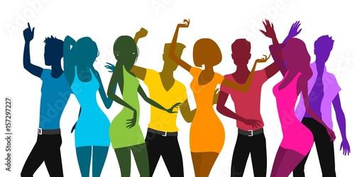 Dancing human silhouettes