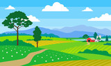 beautiful summer landscape with farm fields mountains