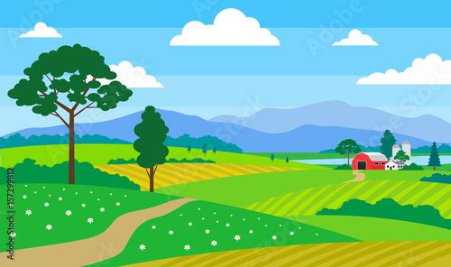 Fotobehang Boerderij beautiful summer landscape with farm fields mountains