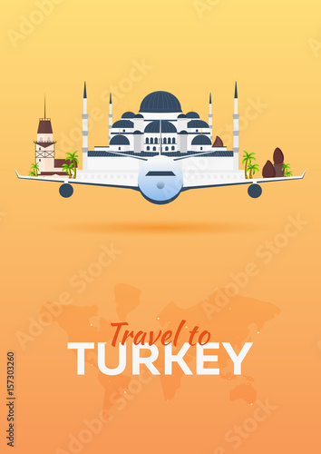 Travel to Turkey. Airplane with Attractions. Travel vector banners. Flat style.