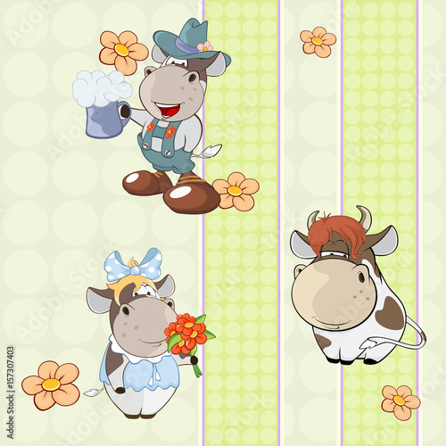 Deurstickers Babykamer A background with cows seamless pattern