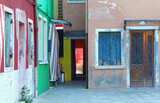 Courtyard of the colorful houses of the island of Burano near Ve