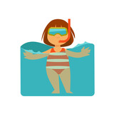 Girl kid or child swimming in sea water, snorkeling in mask