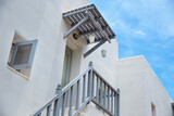 santorini greece style white traditional architecture house.