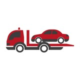 Car transportation logistics truck or evacuation tow loader vector flat isolated icon