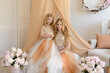 Two beautiful girls in a studio. They wear light beautiful dresses. Both are blond