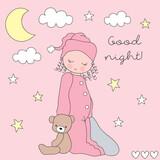 cute girl wearing pajamas vector illustration