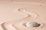 Japanese zen stone garden. Harmony and balance of rock and raked sand lead to concentration and meditation towards spirituality...