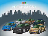The Colorful Type Of Vehicle PREMIUM CAR Created vector art image illustration