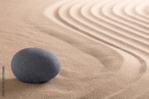 Canvas Zen Zen meditation stone garden with rock on raked sand