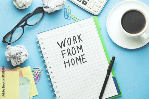 work from home text on paper Poster