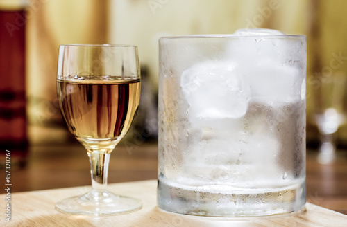 Whiskey shot glass and tumbler with ice Poster