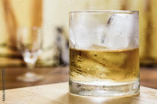 Whiskey tumbler glass misty ice Poster