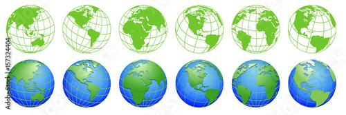 Planet Earth, world globe maps, set of ecology icons  - 157324404