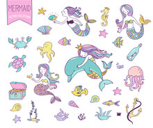 Under The Sea  Little Mermaid Fishes Sea Animals And Starfish   Sticker