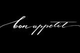 Bon appetit. Handwritten white text on black background, vector - 157330636