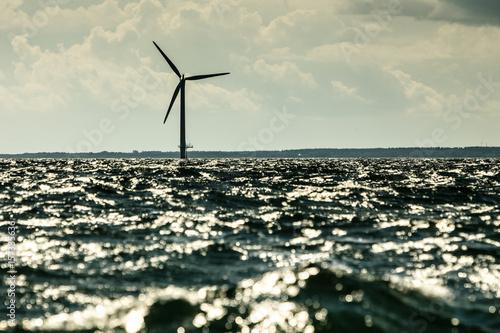 Wind turbines farm in Baltic Sea, Denmark Poster