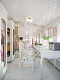 Classic Traditional Provence White and Pink Colors Veranda Home Office Interior Design With White furniture and White Wooden Wall Panels. 3d rendering - 157337802