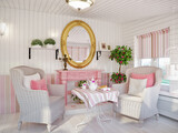 Classic Traditional Provense White and Pink Colors Veranda Rest Living Room Interior Design With Wicker Chairs and Fireplace, Wooden Wall Panels . 3d rendering