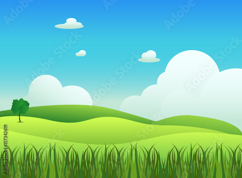 Foto op Plexiglas Turkoois Meadow landscape with grass foreground, vector illustration.Green field and sky blue with white cloud background