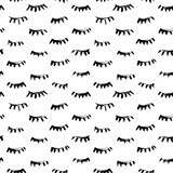 Hand drawn seamless pattern with close eyes. Wrapping paper. Vector background. Casual texture. Illustration. Marker drawn eye lashes. - 157343618