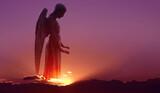 Angel in heaven over purple sky background - 157347263