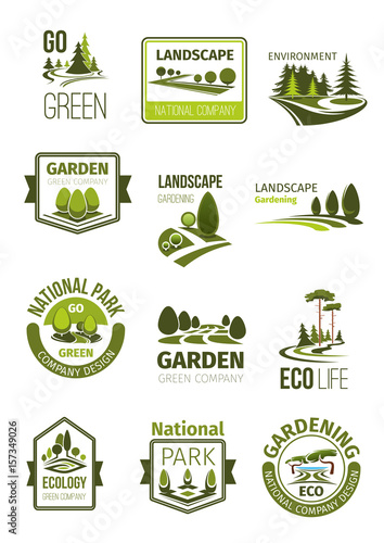 Papiers peints Blanc Green landscape and gardening company vector icons