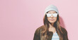 Hipster girl wearing sunglasses and hat