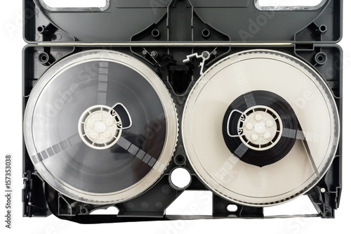 Deurstickers Retro Open video cassette tape on white background.