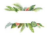 Watercolor banner tropical leaves and branches isolated on white background. - 157355026