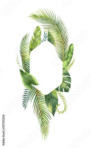 tropische-blatter-und-niederlassungen-des-rechteckigen-rahmens-des-aquarells-lokalisiert-auf-weisem-hintergrund