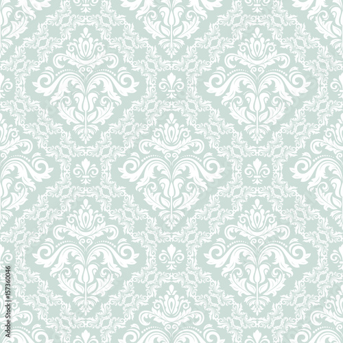 Damask classic light blue and white pattern. Seamless abstract background with repeating elements. Orient background - 157360046