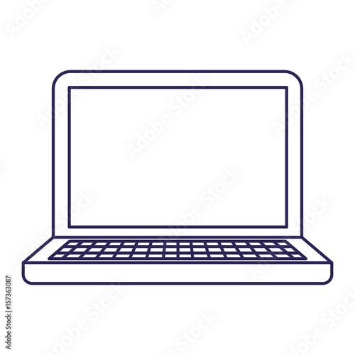 purple line contour of laptop computer vector illustration
