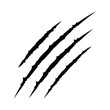 Black bloody claws animal scratch scrape track. Cat tiger scratches paw shape. Four nails trace. Funny design element. Flat design. White background. Isolated.
