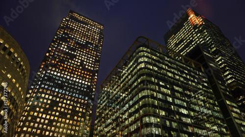 Night shot of Canary Warf, London, United Kingdom - 157372248