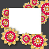floral background with hand drawn flowers. Template for Greeting Card with place for text