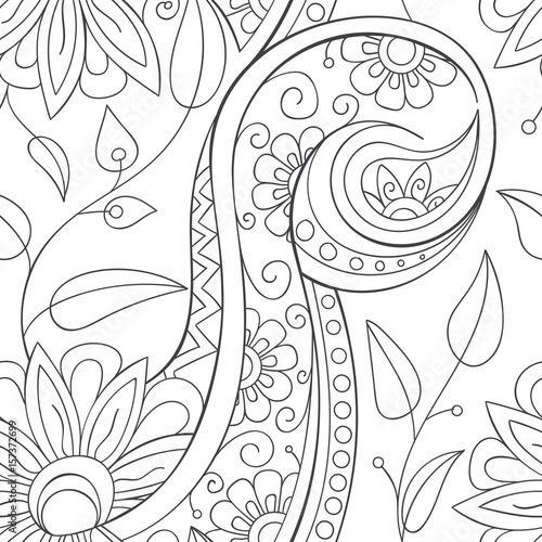 Beautiful decorative floral ornamental sketchy pattern, doodle style. All elements are not cropped and hidden under mask, place the pattern on canvas and repeat