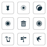 Vector Illustration Set Of Simple Beach Icons. Elements Palm, Garbage, Bikini And Other Synonyms Games, Hot And Holiday.