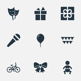 Vector Illustration Set Of Simple Celebration Icons. Elements Speech, Mask, Decorations; And Other Synonyms Party, Prize And Theater.