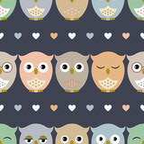 Owls. Seamless pattern with cute owl