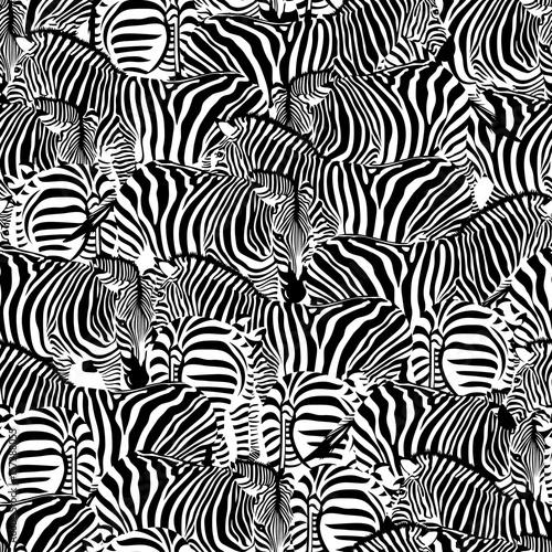fototapeta na ścianę Zebra seamless pattern. Wild animal texture. Striped black and white. design trendy fabric texture, illustration.