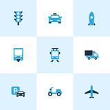 Shipment Colorful Icons Set. Collection Of Plane, Stoplight, Trolley And Other Elements. Also Includes Symbols Such As Jet, Lorry, Aircraft.