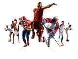 Sport Collage Boxing Soccer American Football Basketball Baseball Ice Hockey Etc Wall Sticker