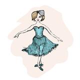 cute little ballerina, doodle nursery illustration