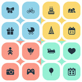 Vector Illustration Set Of Simple Celebration Icons. Elements Mask, Camera, Game And Other Synonyms Confectionery, Day And Calendar.