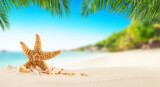Fototapety Tropical beach with sea star on sand, summer holiday background.