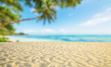 Fototapety Tropical beach with sand, summer holiday background.