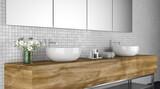 Modernes Badezimmer mit Handwaschbecken und Handtüchern - 157393849