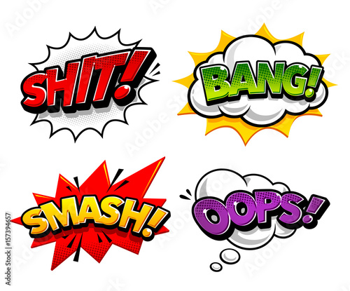Fotobehang Pop Art Retro comic speech bubbles with expression tags Shit, Bang, Smash, Oops. Bright dynamic pop art design elements. Vector illustration.
