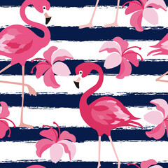 Seamless pattern with dark blue grunge stripes and pink flamingo. Pink flamingo vector background design for fabric and decor. Vector trendy illustration.